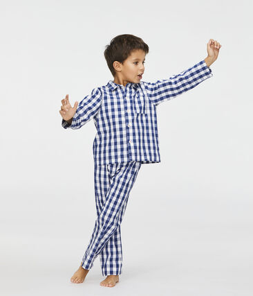 Boys' Twill Pyjamas Medieval blue / Marshmallow white