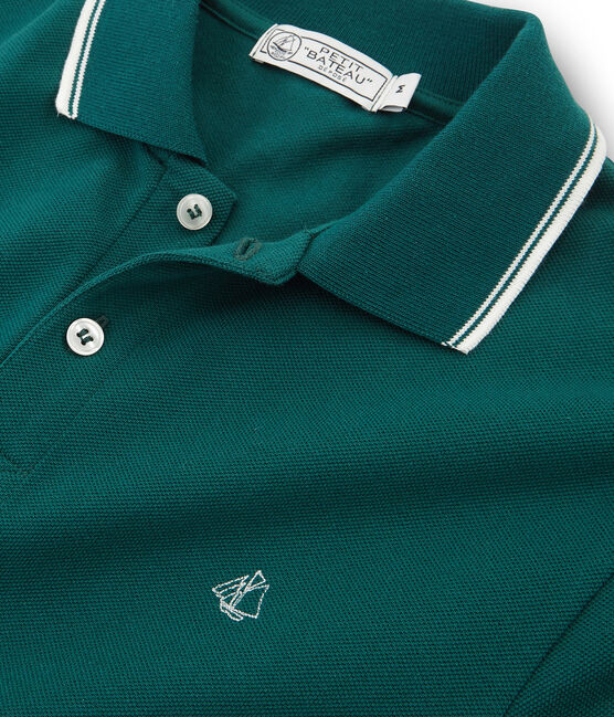 Men's short-sleeved polo shirt Pinede green