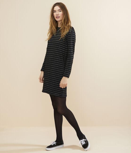 Women's Breton striped dress NOIR/ARGENT