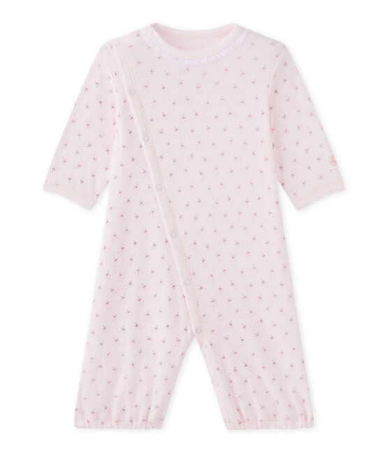 Baby girls' 2-in-1 one-piece / sleep sack Vienne pink / Multico white