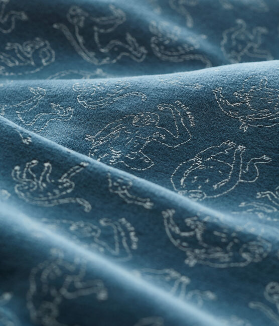 Baby Boys' Cotton Sleepsuit Shadow blue / Marshmallow white