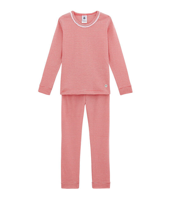 Little girl's fitted pyjamas. Impatience pink / Marshmallow white