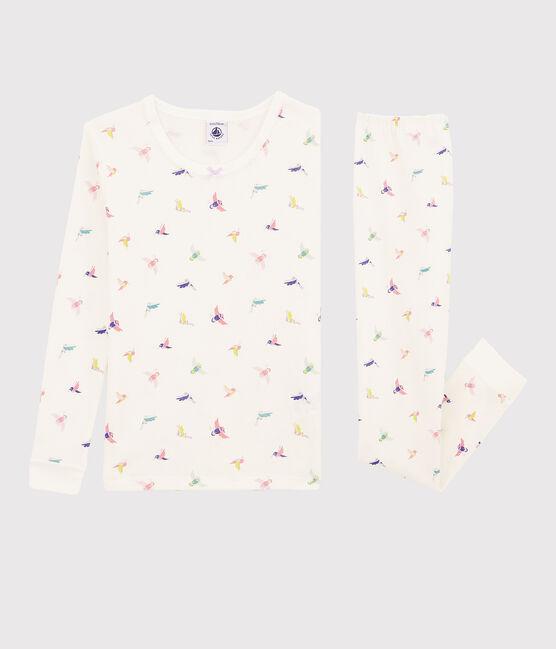 Girls' Snugfit Birds Print Ribbed Pyjamas Marshmallow white / Multico white