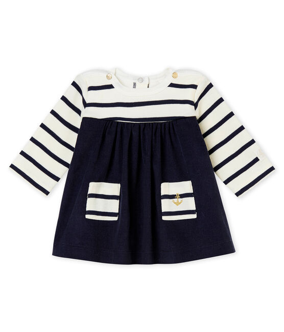 Baby girl's iconic dress Coquille beige / Abysse blue