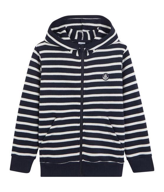 Boys' Hooded Sweatshirt Marshmallow white / Smoking blue