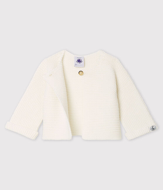 Babies' Organic Cotton Knit Cardigan Marshmallow white
