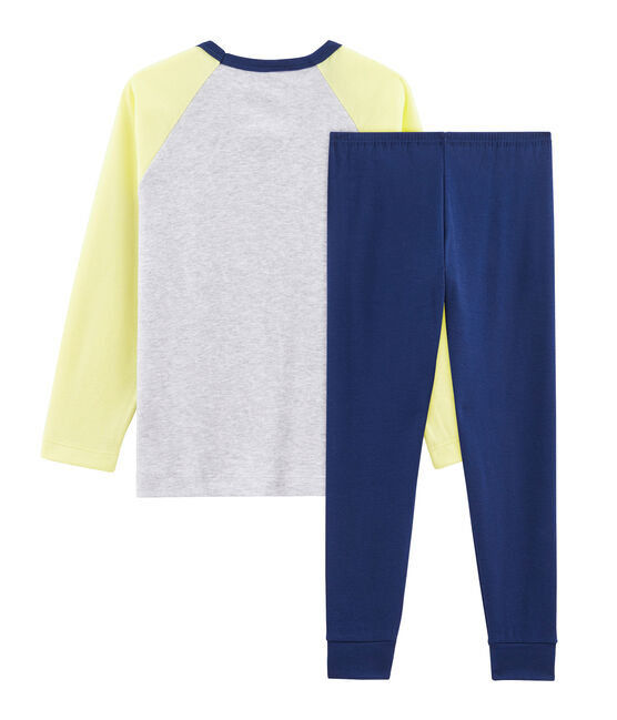 Boys' Ribbed Pyjamas Medieval blue / Multico white