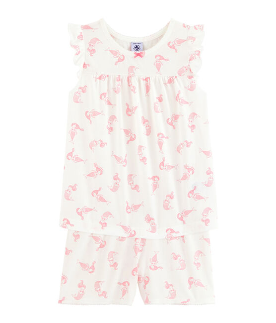 Girls' Fine Cotton Short Pyjamas Marshmallow white / Rose pink