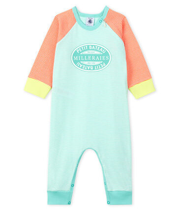 Babies' Footless Ribbed Sleepsuit Coral orange / Marshmallow white