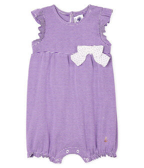 Milleraies playsuit for baby girls Real purple / Marshmallow white