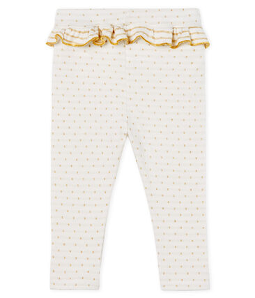 Baby Girls' Ruffled Leggings Marshmallow white / Or yellow