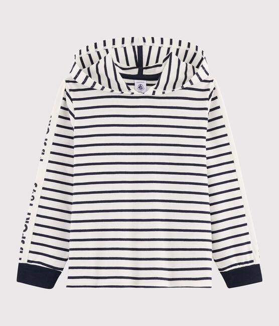 Boys' Hooded T-shirt Marshmallow white / Smoking blue