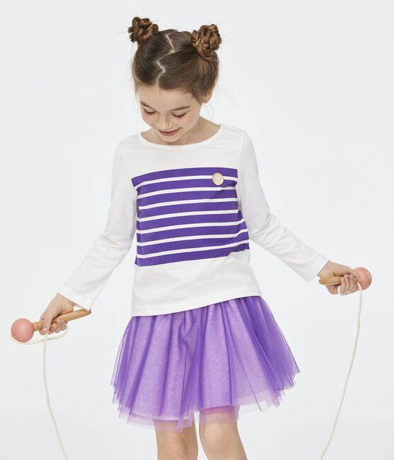 Girls' T-Shirt Marshmallow white / Real purple