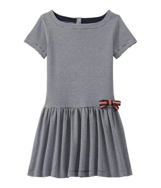 Girl's milleraies-striped dress Smoking blue / Lait white