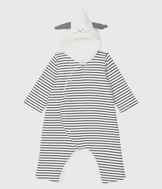 Babies' Long Organic Cotton Stripy Hooded Jumpsuit Marshmallow white / Smoking blue