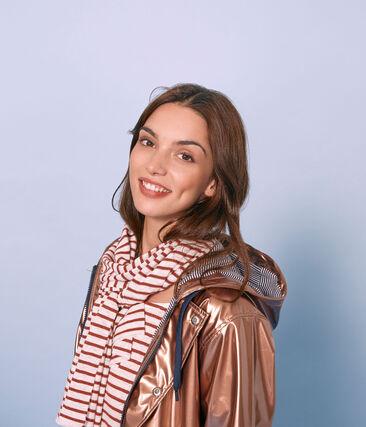 Women's iridescent linen scarf Marshmallow white / Copper pink