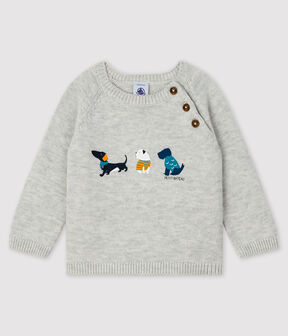 Baby boy's pullover with motif Beluga grey