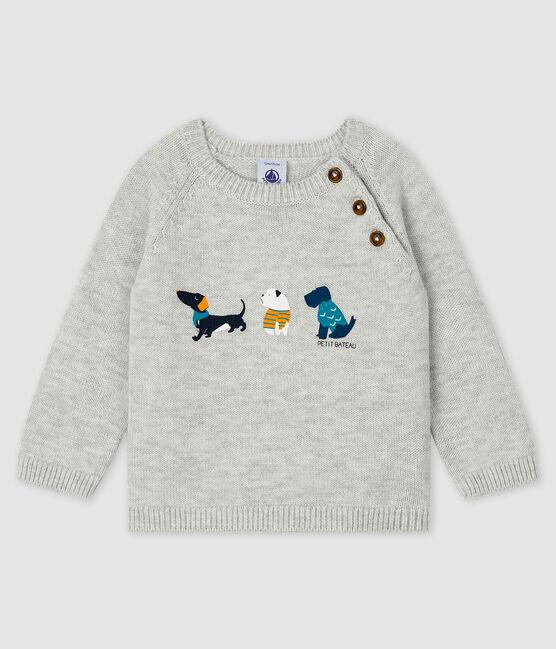 Baby boy's pullover with motif Beluga grey