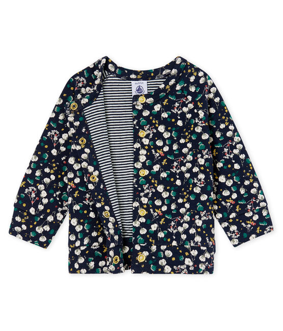 Baby Girls' Printed Tube Knit Cardigan Smoking blue / Multico white