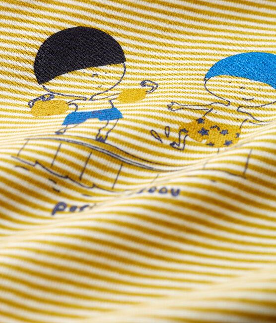 Baby boys' pinstriped Shortie Bamboo yellow / Marshmallow Cn white