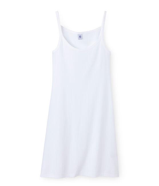 Chemise à bretelles femme coton/laine/soie Lait white