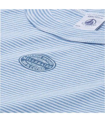 Boy's cotton milleraies short pyjamas Alaska blue / Ecume white