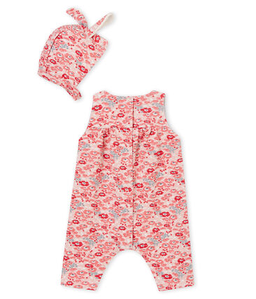 Baby girl's long dungarees and bonnet