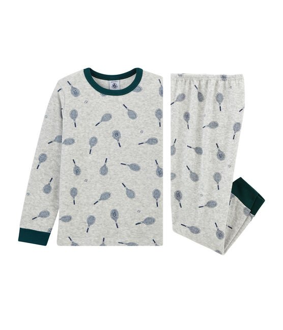 Boys' Pyjamas in Brushed towelling Poussiere grey / Medieval blue