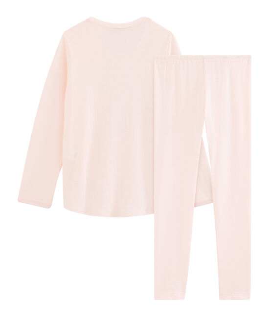 Girls' Ribbed Pyjamas Fleur pink