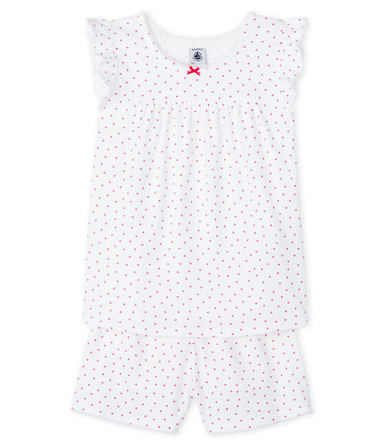 Girls' Pink Ribbed Short Pyjamas Ecume white / Rose pink