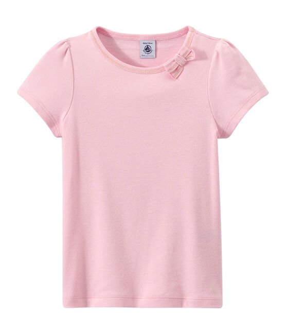 Girl's T-shirt with a little bow Babylone pink