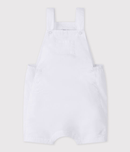 Baby boy's short linen dungarees Marshmallow white