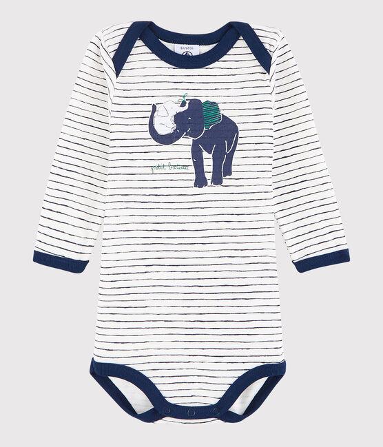 Unisex Babies' Long-Sleeved Bodysuit Marshmallow white / Medieval blue