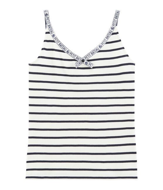 Women's sleeveless top Marshmallow white / Smoking blue