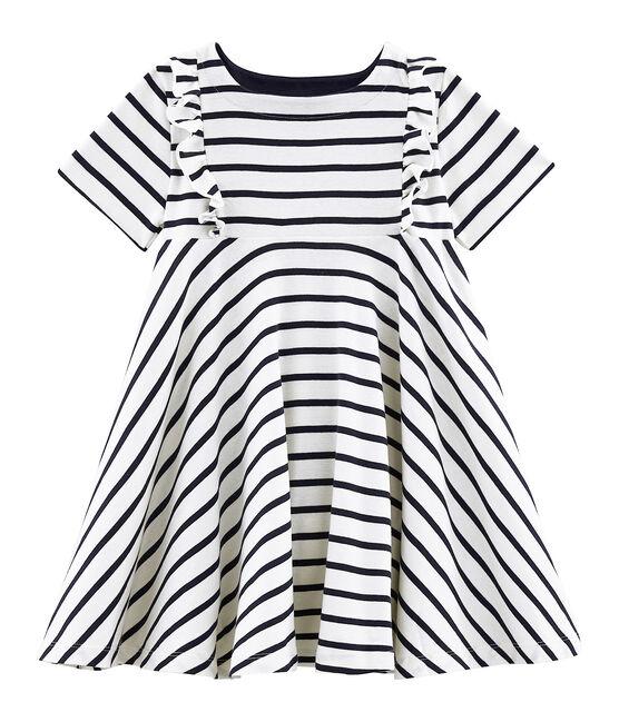 Girls' Short-Sleeved Dress Coquille beige / Smoking blue