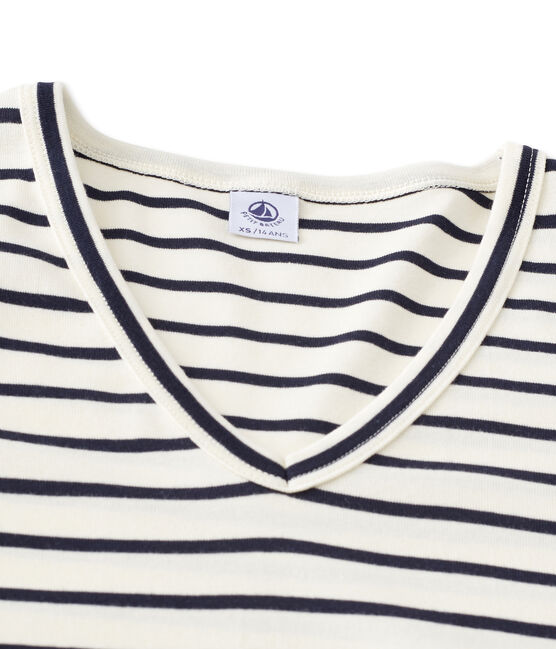 Women's long-sleeved V-neck tee Coquille beige / Smoking blue
