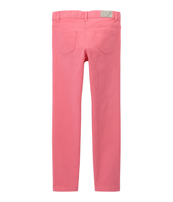 Girls' coloured denim trousers Petal pink