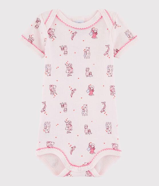 Baby Girls' Short-Sleeved Bodysuit Vienne pink / Multico white