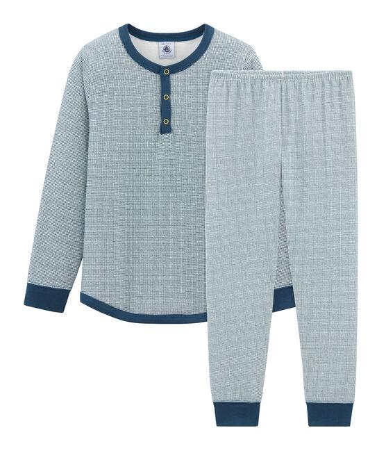 Boys' Tube Knit Pyjamas Marshmallow white / Shadow blue