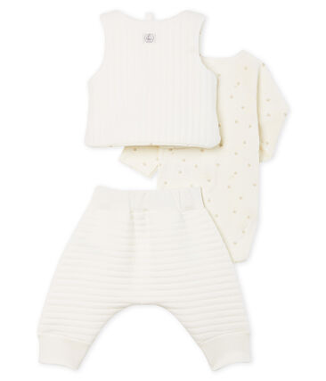 Baby Tube Knit Clothing - 3-piece set Marshmallow white