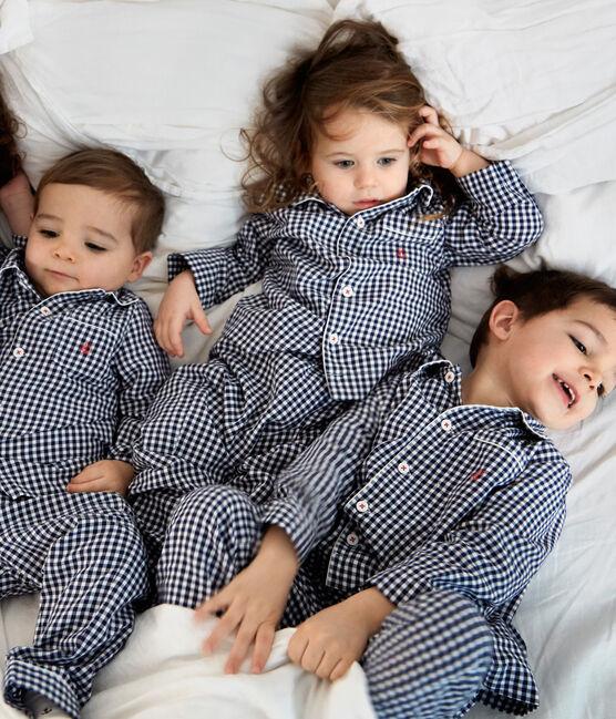 Boys' Twill Pyjamas Medieval blue / Lait white