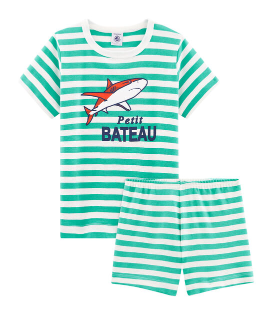 Boys' Ribbed Short Pyjamas Esperanza green / Marshmallow white