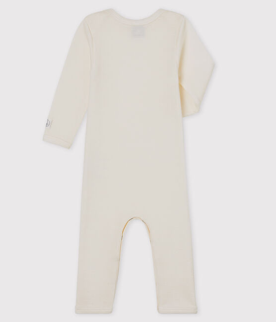Babies' White Long Bodysuit in Cotton/Wool Ecru beige