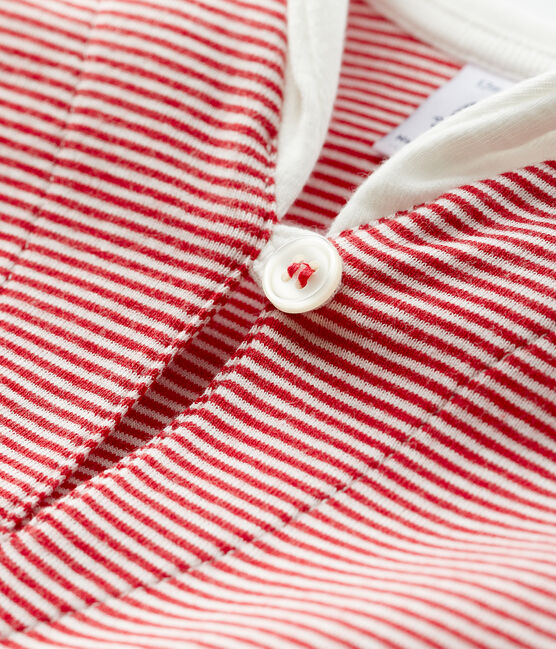 Baby boy's pinstriped t-shirt Terkuit red / Marshmallow white