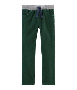 Boys' Velour Trousers Sousbois green