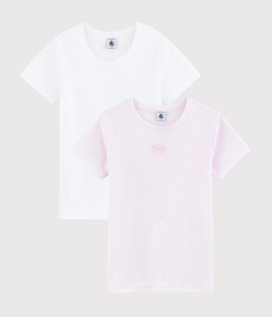 Girls' Ribbed Pink Short-Sleeved Pinstriped T-shirt - 2-Pack . set