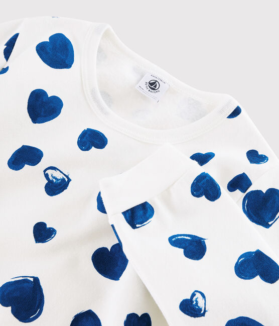 Girls' or Women's Heart Print Ribbed Pyjamas Marshmallow white / Bleu blue