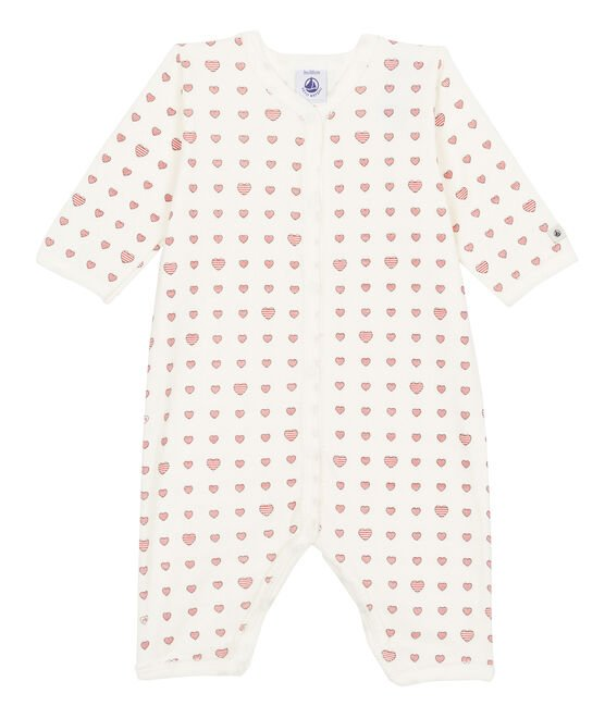 Baby Girls' Ribbed Footless Sleepsuit Marshmallow white / Multico white
