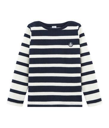Boys' breton Top Marshmallow white / Smoking blue