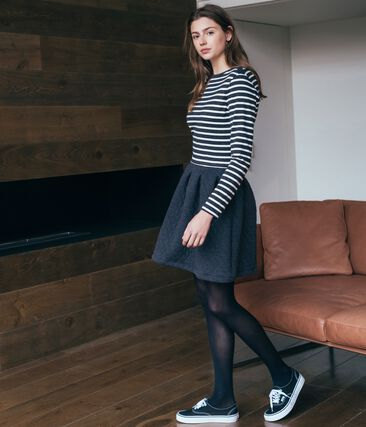 Women's Long-Sleeved Dual Material Dress City black / Coquille beige